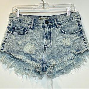 Bullhead Denim Distressed Acid Washed Jean shorts
